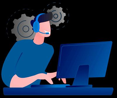 ilustração de um consultor e atendente Zaz Tech da aba fale conosco