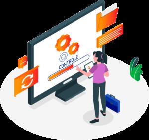 ilustração que mostra uma pessoa em frente ao monitor simbolizando a gestão de crédito próprio da zaz tech