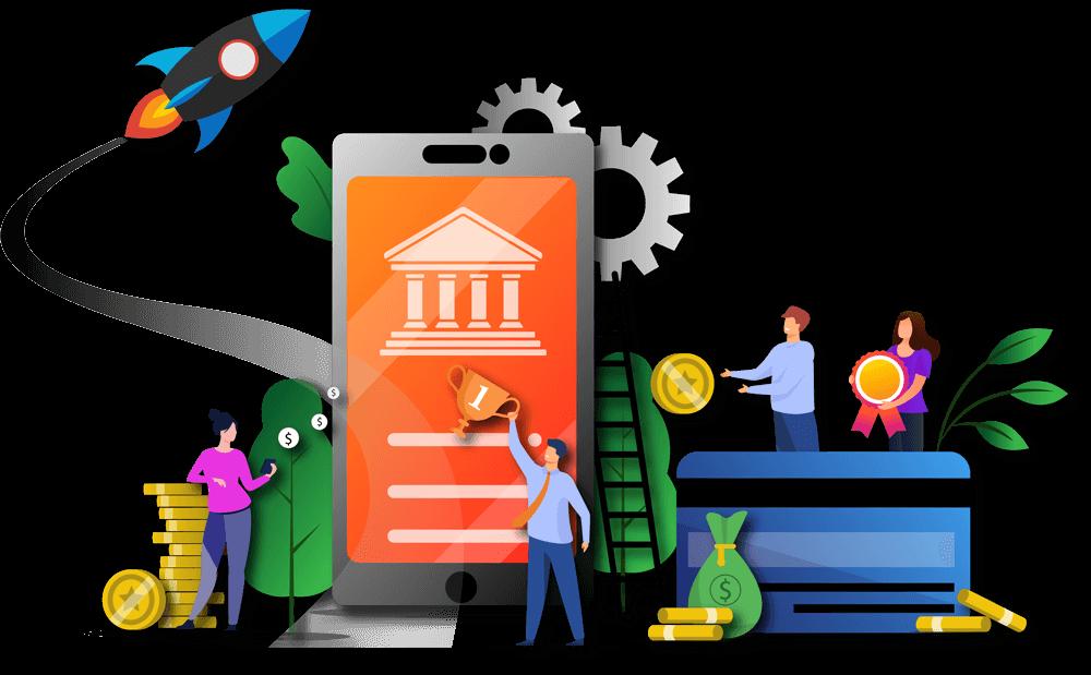 Ilustração com um smartphone no centro, dinheiro e pessoas ao redor