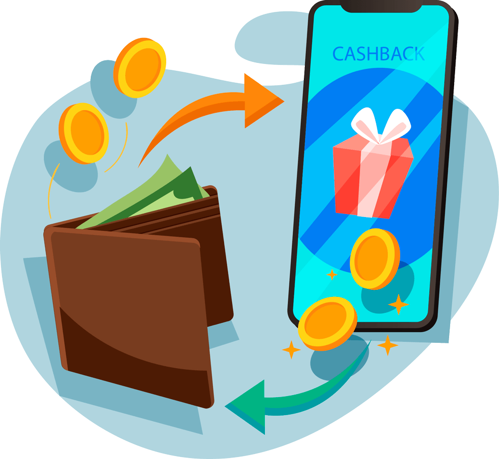 imagem com um celular e uma carteira, simbolizando uma transação e a fidelidade de cashback da zaz tech